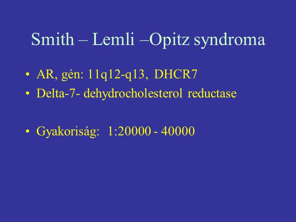 Smith – Lemli –Opitz syndroma AR, gén: 11q12-q13, DHCR7 Delta-7- dehydrocholesterol reductase Gyakoriság: 1:20000 - 40000