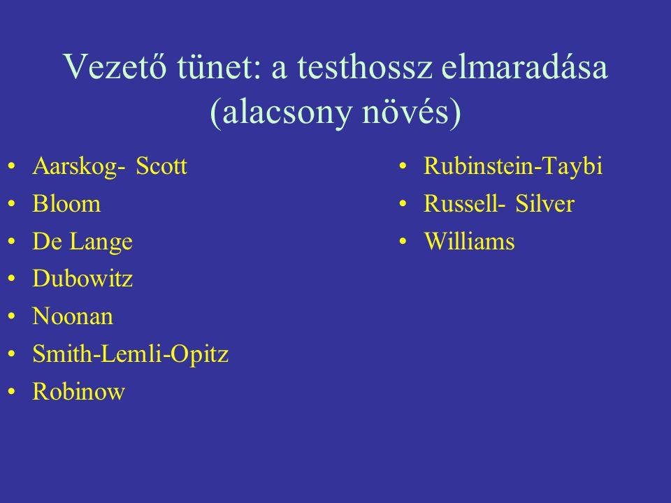 Vezető tünet: a testhossz elmaradása (alacsony növés) Aarskog- Scott Bloom De Lange Dubowitz Noonan Smith-Lemli-Opitz Robinow Rubinstein-Taybi Russell