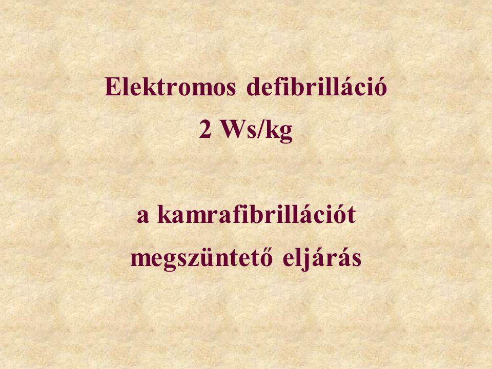 Elektromos defibrilláció 2 Ws/kg a kamrafibrillációt megszüntető eljárás
