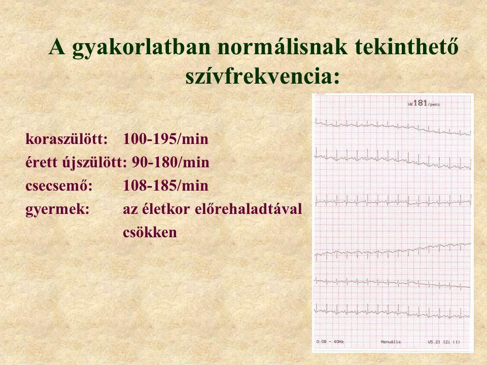 A gyakorlatban normálisnak tekinthető szívfrekvencia: koraszülött:100-195/min érett újszülött: 90-180/min csecsemő:108-185/min gyermek:az életkor előr