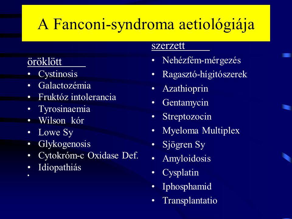 A Fanconi-syndroma aetiológiája öröklött Cystinosis Galactozémia Fruktóz intolerancia Tyrosinaemia Wilson kór Lowe Sy Glykogenosis Cytokróm-c Oxidase