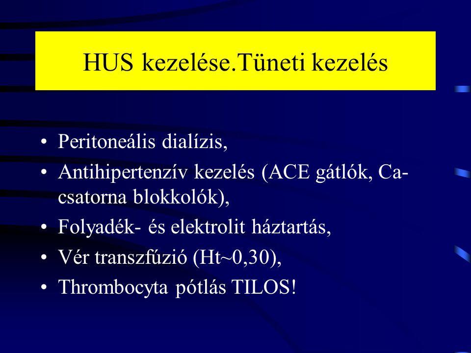 HUS kezelése.Tüneti kezelés Peritoneális dialízis, Antihipertenzív kezelés (ACE gátlók, Ca- csatorna blokkolók), Folyadék- és elektrolit háztartás, Vé