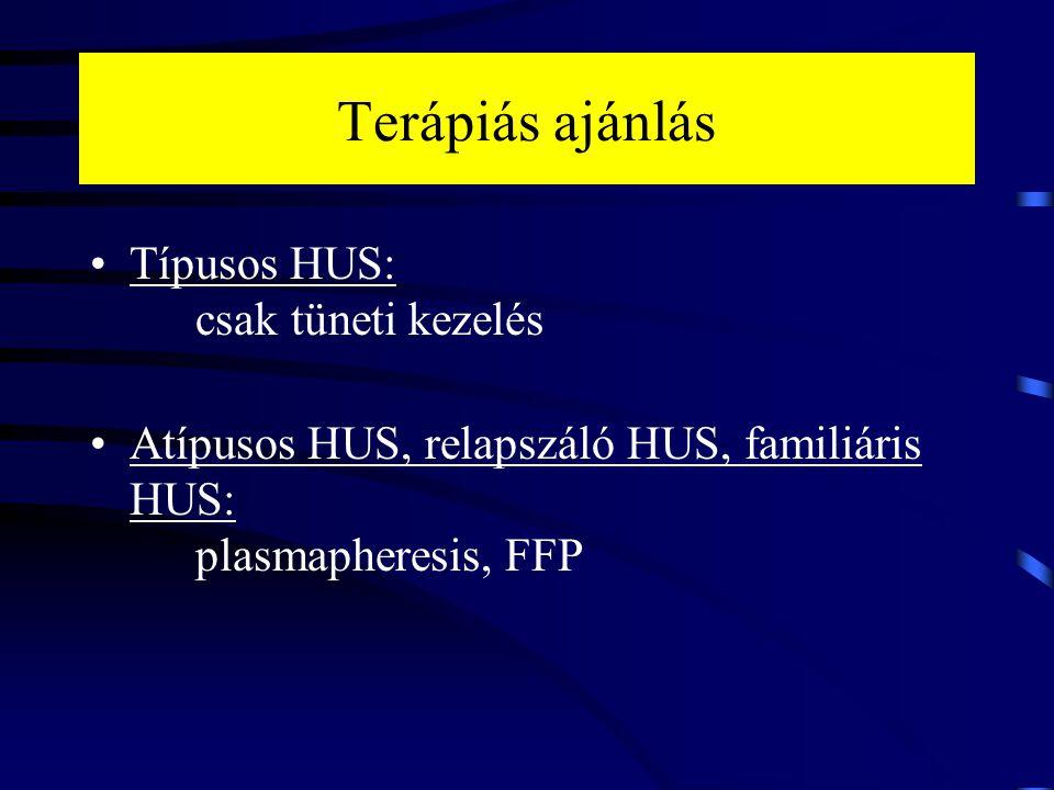 Terápiás ajánlás Típusos HUS: csak tüneti kezelés Atípusos HUS, relapszáló HUS, familiáris HUS: plasmapheresis, FFP