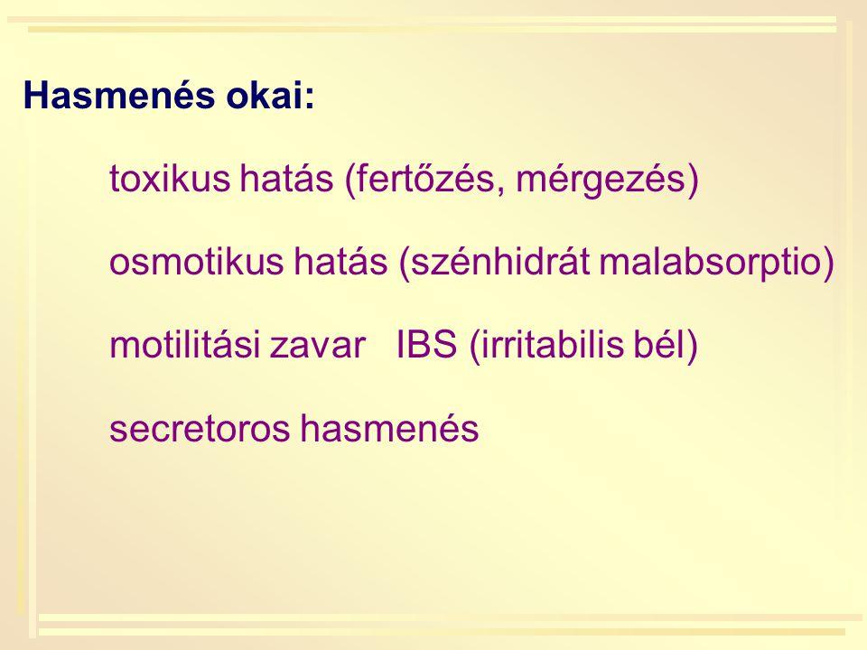 Hasmenés okai: toxikus hatás (fertőzés, mérgezés) osmotikus hatás (szénhidrát malabsorptio) motilitási zavar IBS (irritabilis bél) secretoros hasmenés