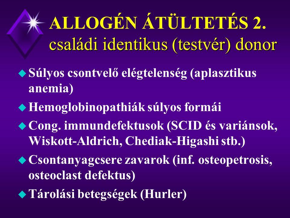 családi identikus (testvér) donor ALLOGÉN ÁTÜLTETÉS 1.