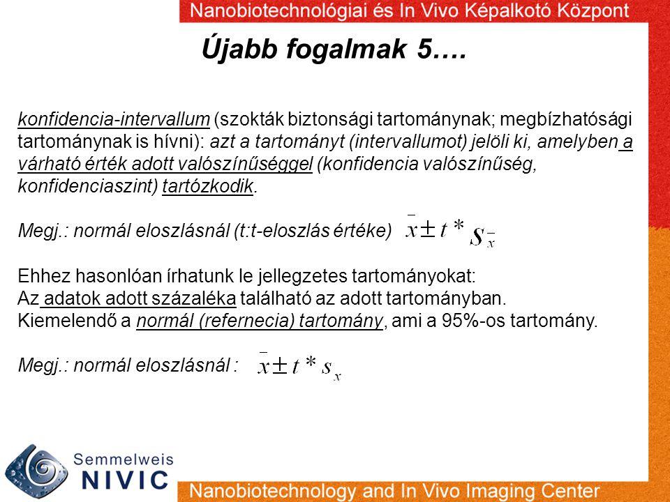 Újabb fogalmak 5…. konfidencia-intervallum (szokták biztonsági tartománynak; megbízhatósági tartománynak is hívni): azt a tartományt (intervallumot) j