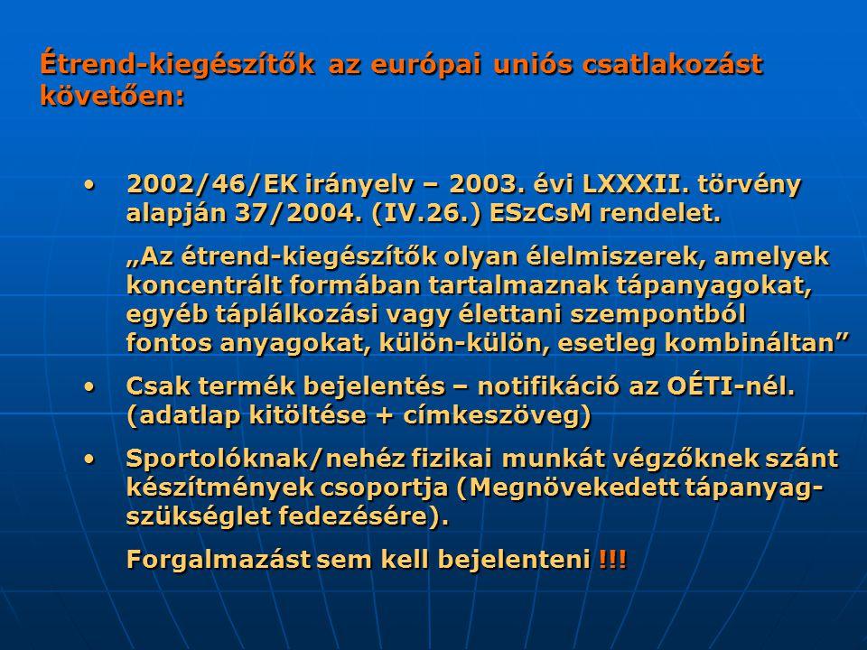 Étrend-kiegészítők az európai uniós csatlakozást követően: 2002/46/EK irányelv – 2003.
