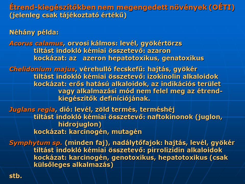 Étrend-kiegészítőkben nem megengedett növények (OÉTI) (jelenleg csak tájékoztató értékű) Néhány példa: Acorus calamus, orvosi kálmos: levél, gyökértörzs tiltást indokló kémiai összetevő: azaron kockázat: az azeron hepatotoxikus, genatoxikus Chelidonium majus, vérehulló fecskefű: hajtás, gyökér tiltást indokló kémiai összetevő: izokinolin alkaloidok kockázat: erős hatású alkaloidok, az indikációs terület vagy alkalmazási mód nem felel meg az étrend- kiegészítők definíciójának.