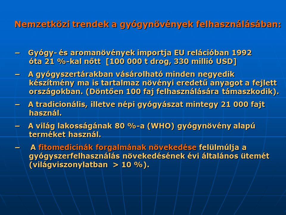 Nemzetközi trendek a gyógynövények felhasználásában: Nemzetközi trendek a gyógynövények felhasználásában: − Gyógy- és aromanövények importja EU relációban 1992 óta 21 %-kal nőtt [100 000 t drog, 330 millió USD] − Gyógy- és aromanövények importja EU relációban 1992 óta 21 %-kal nőtt [100 000 t drog, 330 millió USD] − A gyógyszertárakban vásárolható minden negyedik készítmény ma is tartalmaz növényi eredetű anyagot a fejlett országokban.
