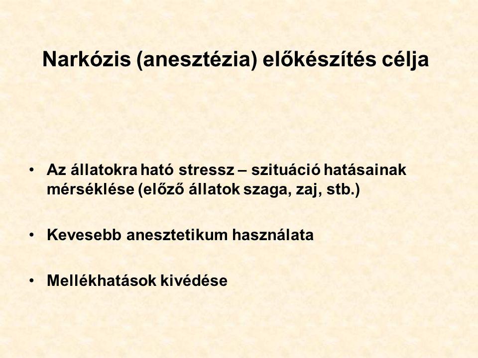 Narkózis (anesztézia) előkészítés célja Az állatokra ható stressz – szituáció hatásainak mérséklése (előző állatok szaga, zaj, stb.) Kevesebb anesztetikum használata Mellékhatások kivédése