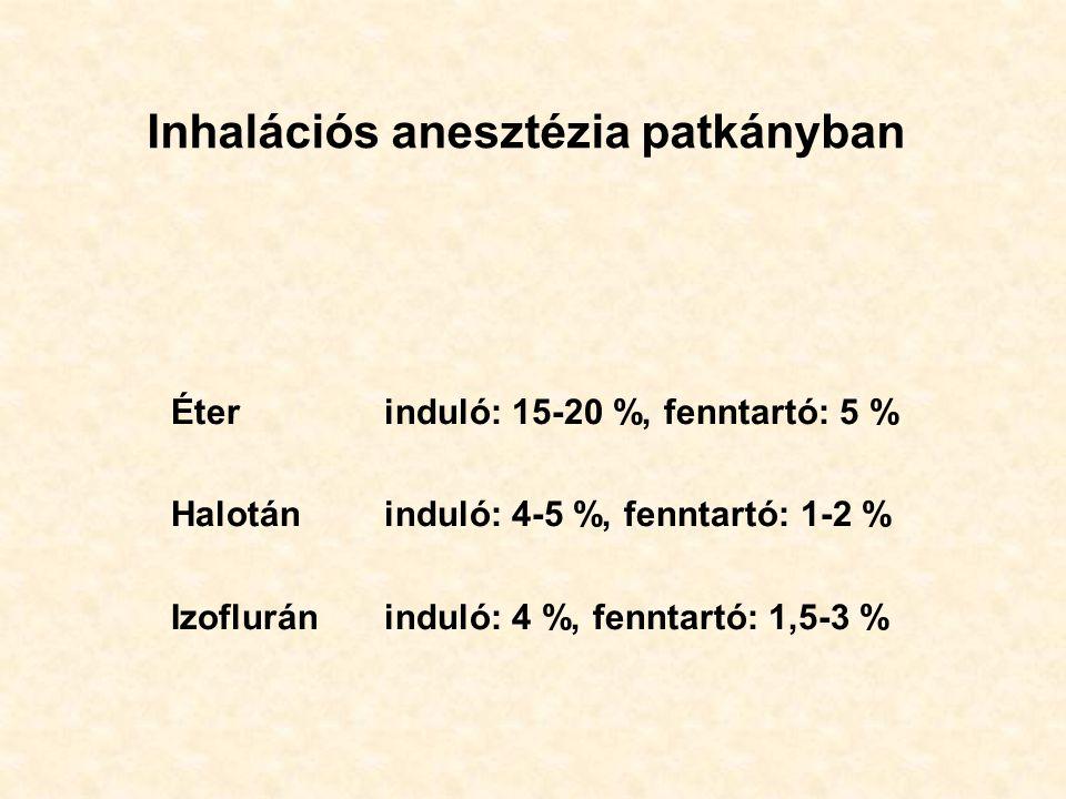 Inhalációs anesztézia patkányban Éterinduló: 15-20 %, fenntartó: 5 % Halotáninduló: 4-5 %, fenntartó: 1-2 % Izofluráninduló: 4 %, fenntartó: 1,5-3 %