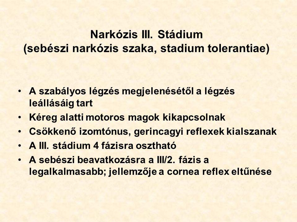 Narkózis III. Stádium (sebészi narkózis szaka, stadium tolerantiae) A szabályos légzés megjelenésétől a légzés leállásáig tart Kéreg alatti motoros ma