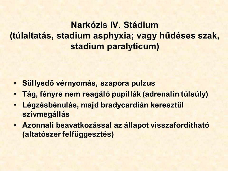 Narkózis IV. Stádium (túlaltatás, stadium asphyxia; vagy hűdéses szak, stadium paralyticum) Süllyedő vérnyomás, szapora pulzus Tág, fényre nem reagáló