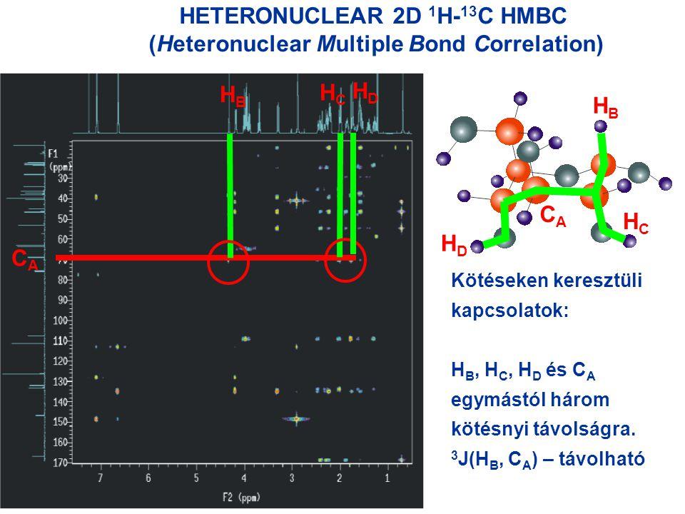 HETERONUCLEAR 2D 1 H- 13 C HMBC (Heteronuclear Multiple Bond Correlation) HBHB HCHC HCHC HBHB Kötéseken keresztüli kapcsolatok: H B, H C, H D és C A egymástól három kötésnyi távolságra.