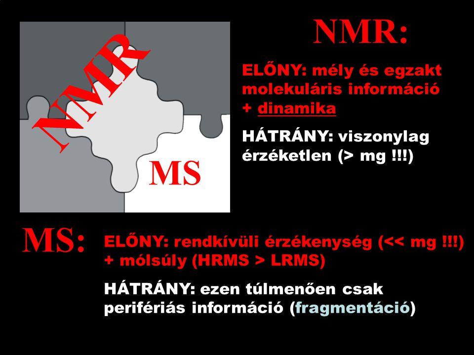 NMR MS ELŐNY: rendkívüli érzékenység ( LRMS) HÁTRÁNY: ezen túlmenően csak perifériás információ (fragmentáció) ELŐNY: mély és egzakt molekuláris információ + dinamika HÁTRÁNY: viszonylag érzéketlen (> mg !!!) MS: NMR: