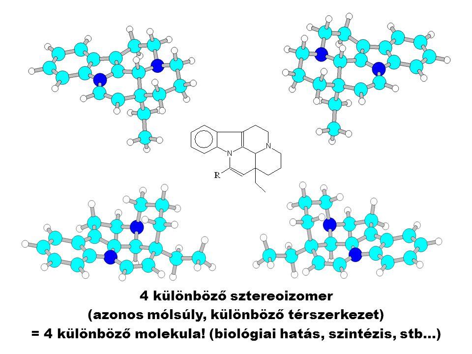 4 különböző sztereoizomer (azonos mólsúly, különböző térszerkezet) = 4 különböző molekula.