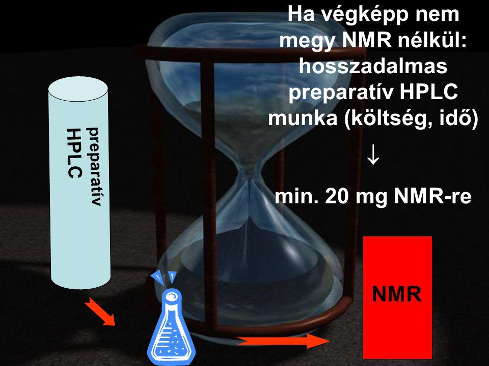 preparatív HPLC NMR Ha végképp nem megy NMR nélkül: hosszadalmas preparatív HPLC munka (költség, idő)  min.