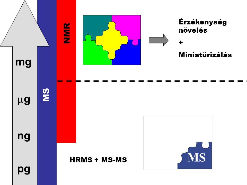 pg ng gg mg NMR MS Érzékenység növelés + Miniatürizálás HRMS + MS-MS