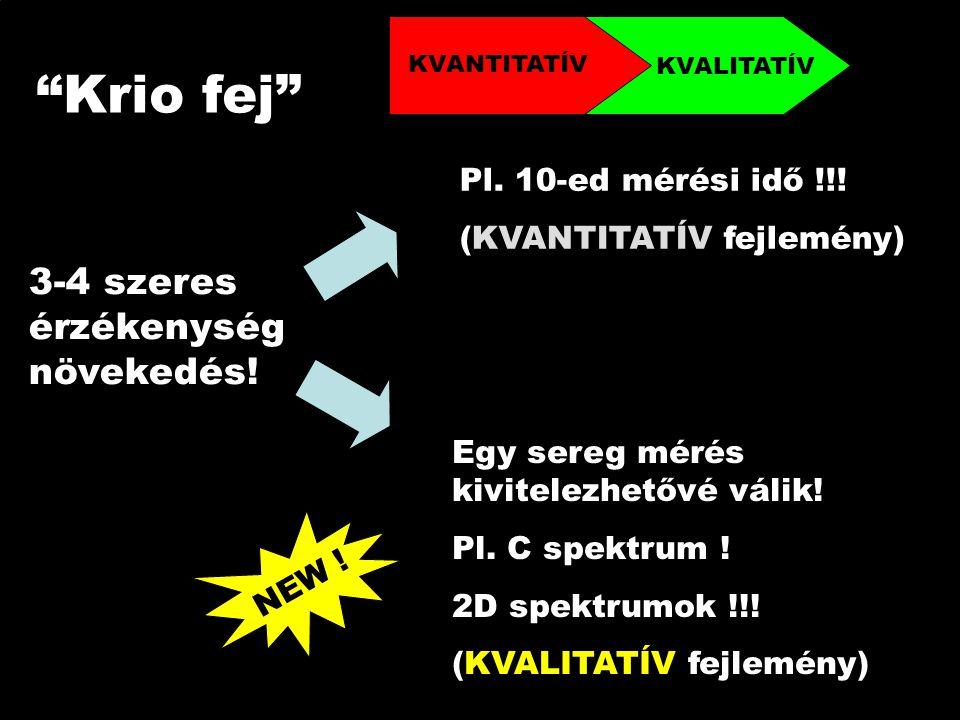 Krio fej 3-4 szeres érzékenység növekedés. Pl. 10-ed mérési idő !!.