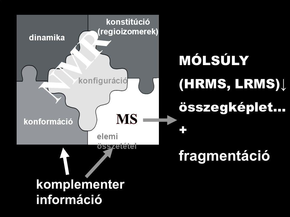 NMR komplementer információ MS elemi összetétel konfiguráció konformáció dinamika MÓLSÚLY (HRMS, LRMS)↓ összegképlet… + fragmentáció konstitúció (regioizomerek)
