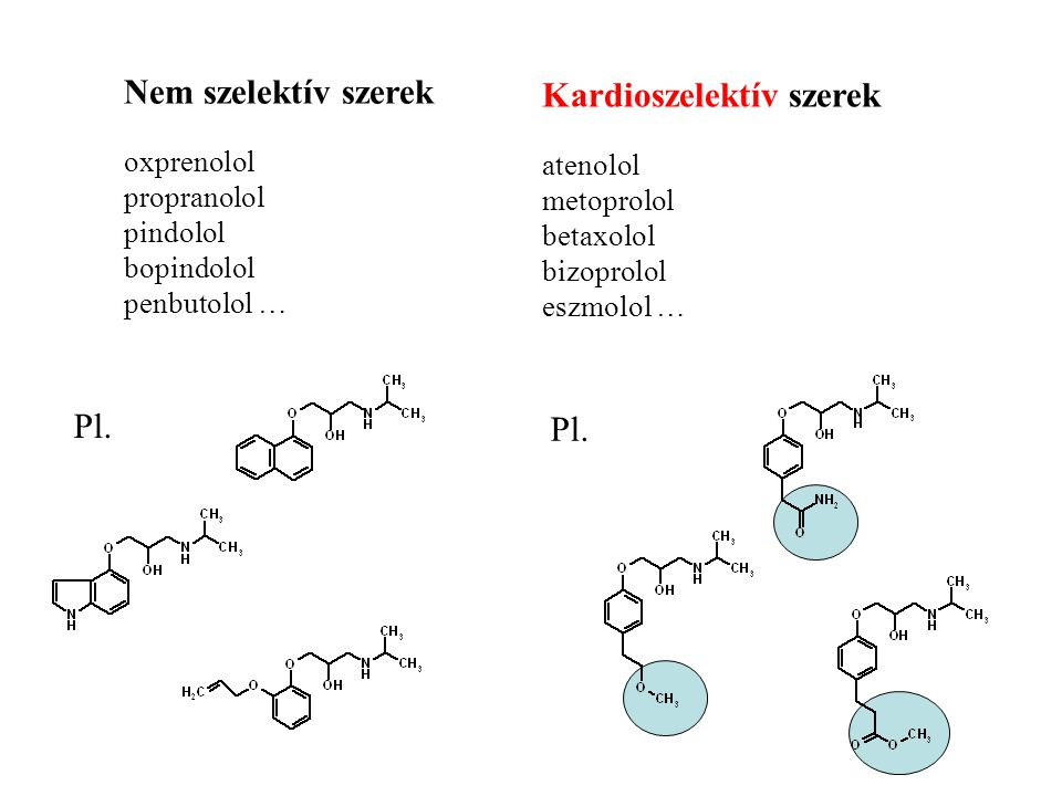 Nem szelektív szerek oxprenolol propranolol pindolol bopindolol penbutolol … Kardioszelektív szerek atenolol metoprolol betaxolol bizoprolol eszmolol … Pl.