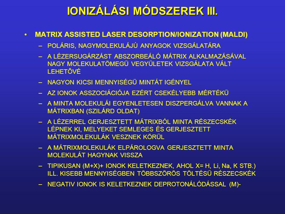 IONIZÁLÁSI MÓDSZEREK III. MATRIX ASSISTED LASER DESORPTION/IONIZATION (MALDI) –POLÁRIS, NAGYMOLEKULÁJÚ ANYAGOK VIZSGÁLATÁRA –A LÉZERSUGÁRZÁST ABSZORBE