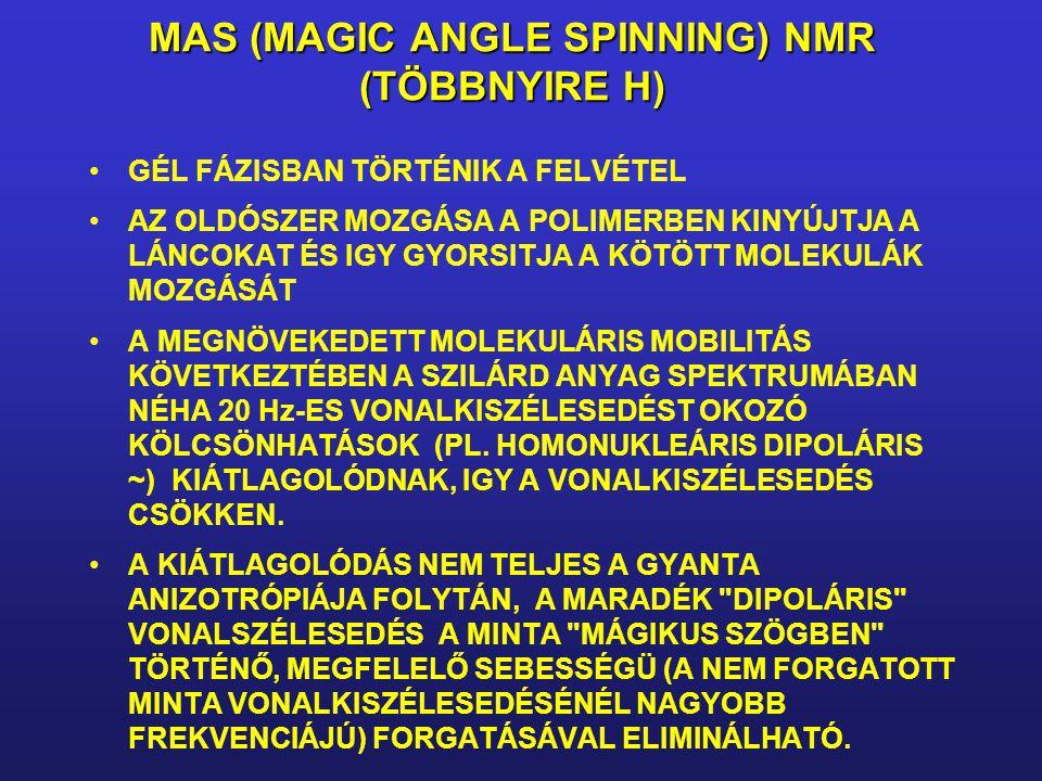 MAS (MAGIC ANGLE SPINNING) NMR (TÖBBNYIRE H) GÉL FÁZISBAN TÖRTÉNIK A FELVÉTEL AZ OLDÓSZER MOZGÁSA A POLIMERBEN KINYÚJTJA A LÁNCOKAT ÉS IGY GYORSITJA A