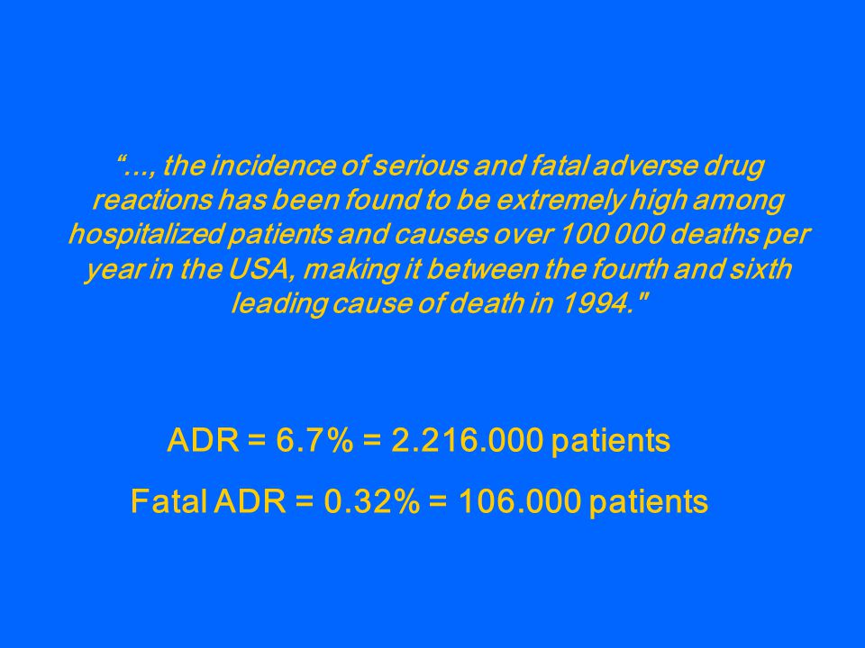 """..., the incidence of serious and fatal adverse drug reactions has been found to be extremely high among hospitalized patients and causes over 100 00"