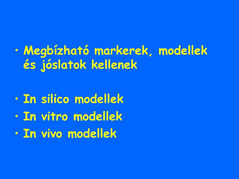 Megbízható markerek, modellek és jóslatok kellenek In silico modellek In vitro modellek In vivo modellek