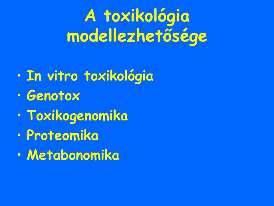 A toxikológia modellezhetősége In vitro toxikológia Genotox Toxikogenomika Proteomika Metabonomika