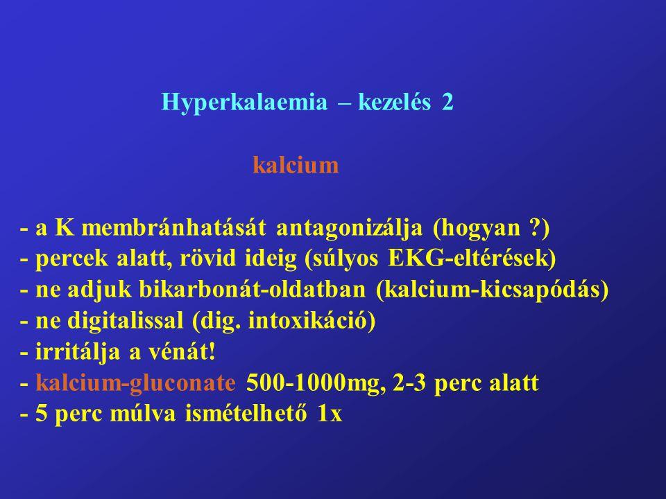 Hyperkalaemia – kezelés 2 kalcium - a K membránhatását antagonizálja (hogyan ?) - percek alatt, rövid ideig (súlyos EKG-eltérések) - ne adjuk bikarbonát-oldatban (kalcium-kicsapódás) - ne digitalissal (dig.