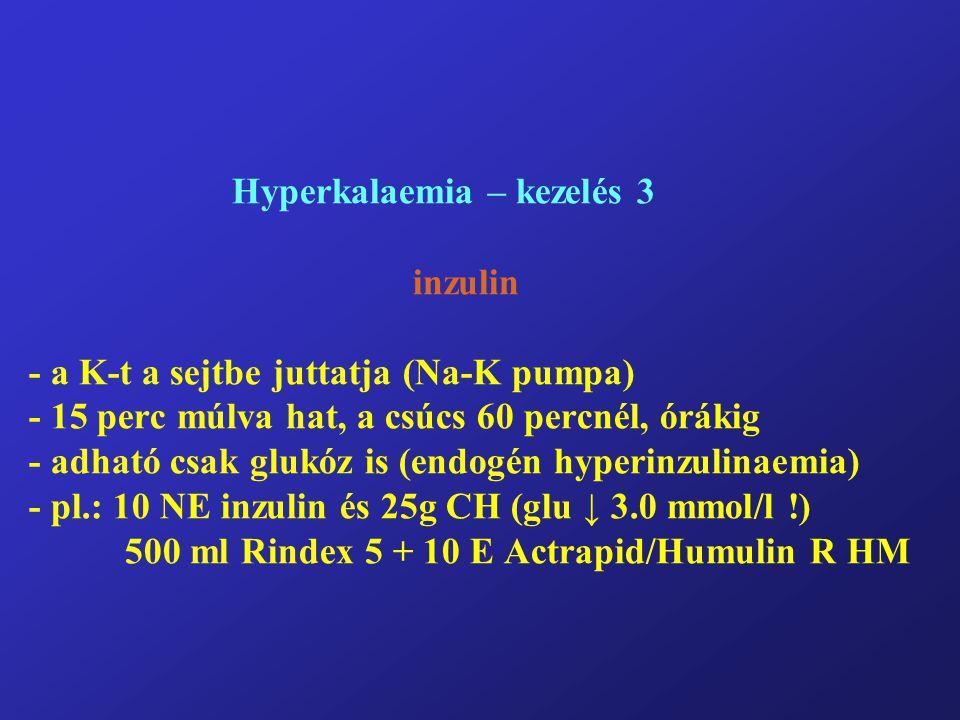 Hyperkalaemia – kezelés 3 inzulin - a K-t a sejtbe juttatja (Na-K pumpa) - 15 perc múlva hat, a csúcs 60 percnél, órákig - adható csak glukóz is (endogén hyperinzulinaemia) - pl.: 10 NE inzulin és 25g CH (glu ↓ 3.0 mmol/l !) 500 ml Rindex 5 + 10 E Actrapid/Humulin R HM