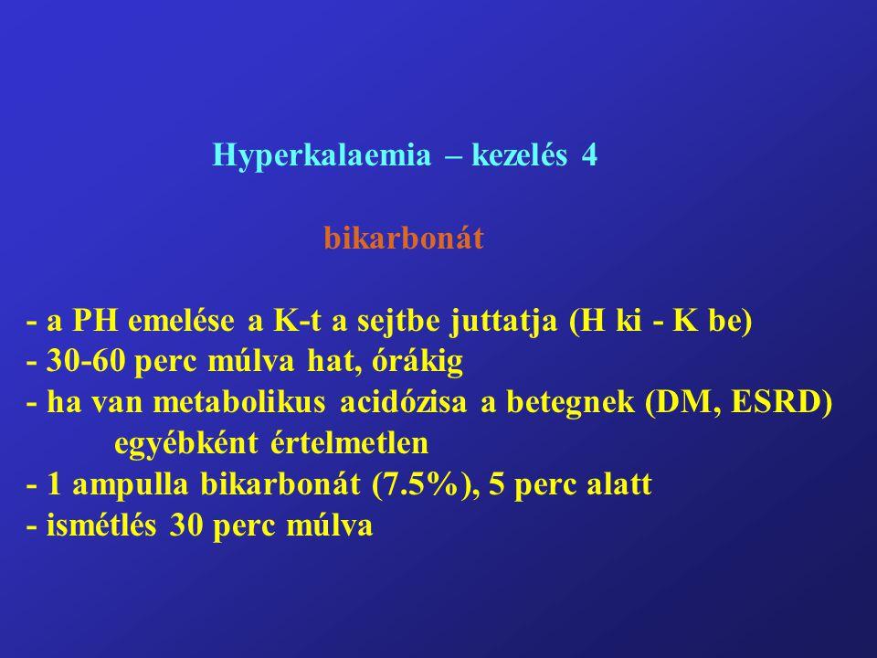 Hyperkalaemia – kezelés 4 bikarbonát - a PH emelése a K-t a sejtbe juttatja (H ki - K be) - 30-60 perc múlva hat, órákig - ha van metabolikus acidózisa a betegnek (DM, ESRD) egyébként értelmetlen - 1 ampulla bikarbonát (7.5%), 5 perc alatt - ismétlés 30 perc múlva