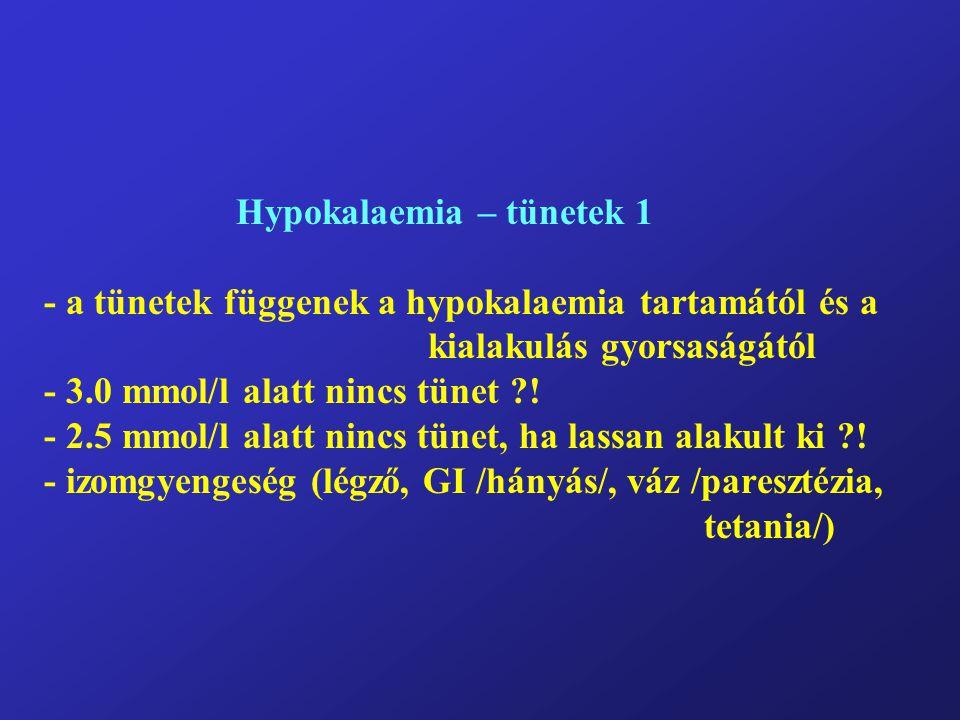 Hypokalaemia – tünetek 1 - a tünetek függenek a hypokalaemia tartamától és a kialakulás gyorsaságától - 3.0 mmol/l alatt nincs tünet ?.