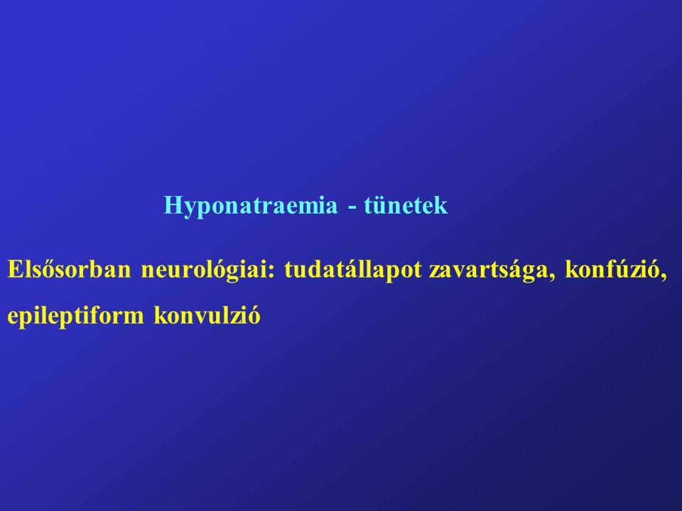 Hyponatraemia - tünetek Elsősorban neurológiai: tudatállapot zavartsága, konfúzió, epileptiform konvulzió