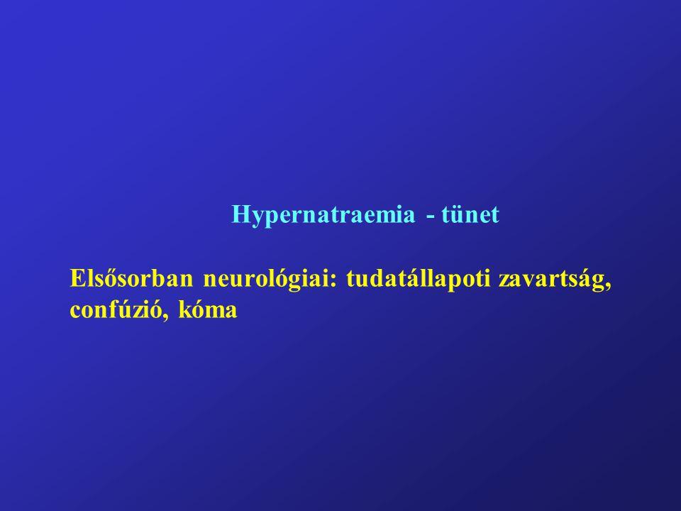 Hypernatraemia - tünet Elsősorban neurológiai: tudatállapoti zavartság, confúzió, kóma