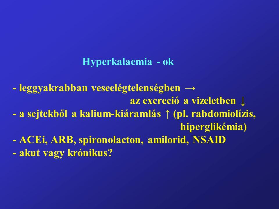 Hyperkalaemia – tünetek - 7.0 mmol/l felett (!?) - izomgyengeség (alsó végtagok először) → paralízis - a sphinchter-tónusok intaktak, nincs központi idegr.