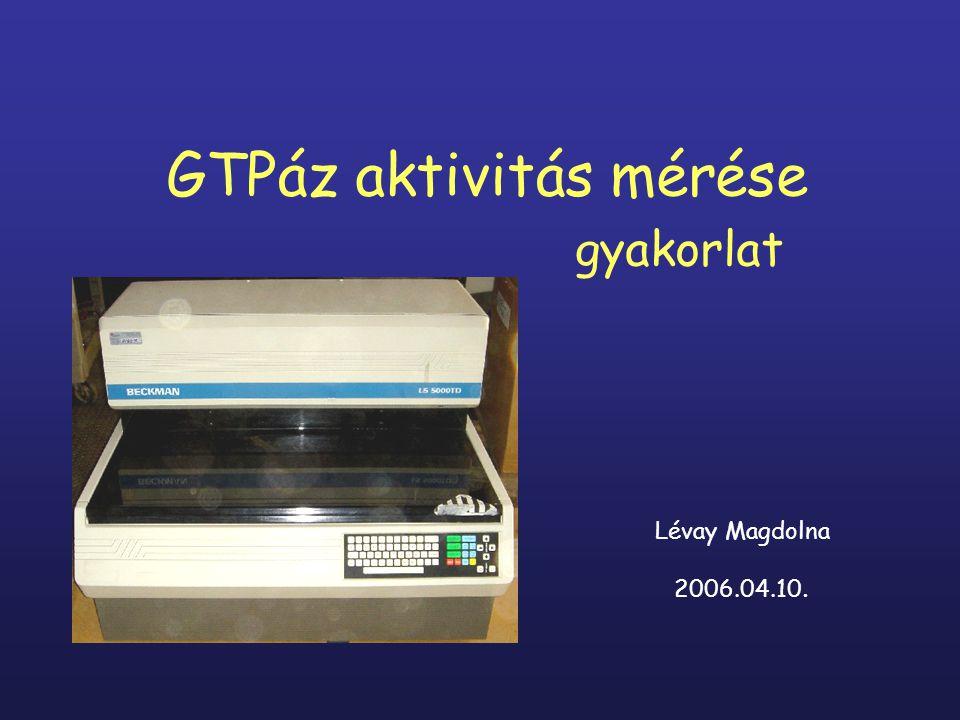 GTPáz aktivitás mérése gyakorlat Lévay Magdolna 2006.04.10.