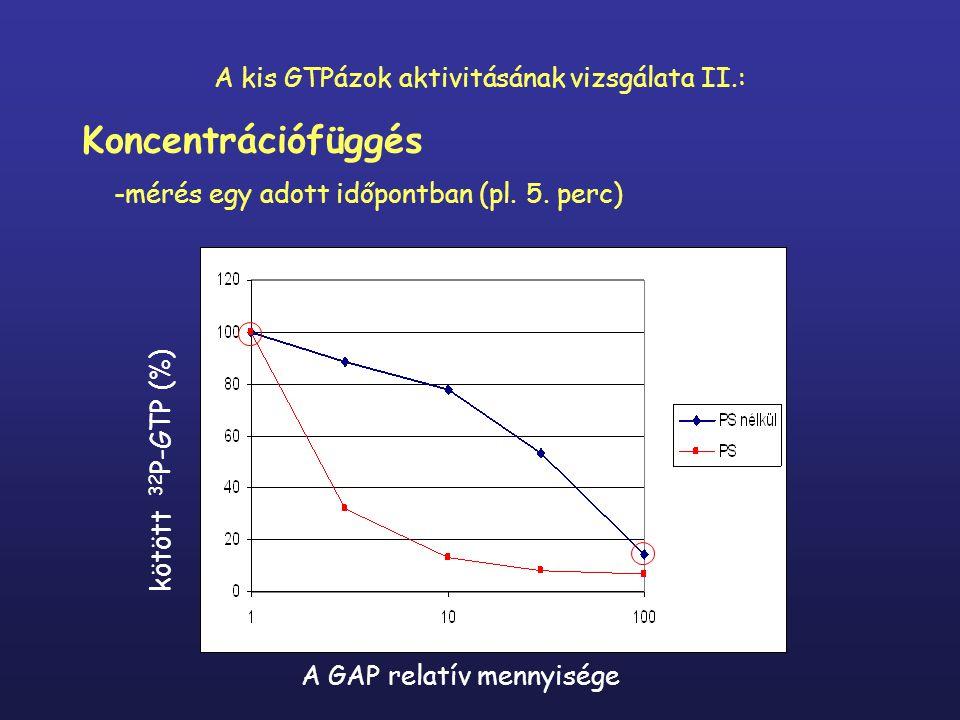A GAP relatív mennyisége kötött 32 P-GTP (%) A kis GTPázok aktivitásának vizsgálata II.: Koncentrációfüggés -mérés egy adott időpontban (pl.