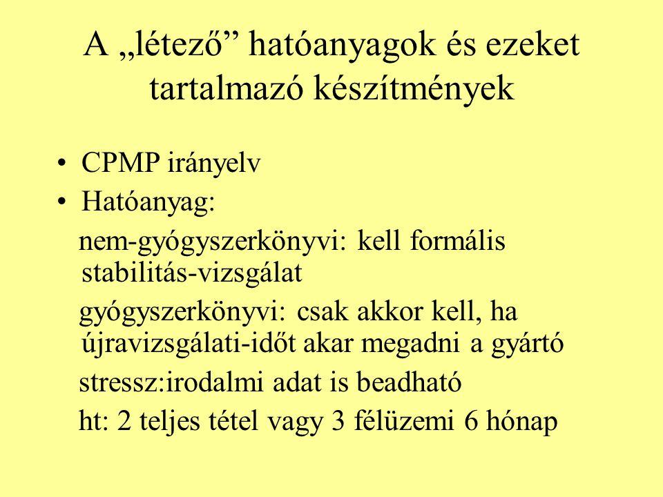 """A """"létező hatóanyagok és ezeket tartalmazó készítmények CPMP irányelv Hatóanyag: nem-gyógyszerkönyvi: kell formális stabilitás-vizsgálat gyógyszerkönyvi: csak akkor kell, ha újravizsgálati-időt akar megadni a gyártó stressz:irodalmi adat is beadható ht: 2 teljes tétel vagy 3 félüzemi 6 hónap"""