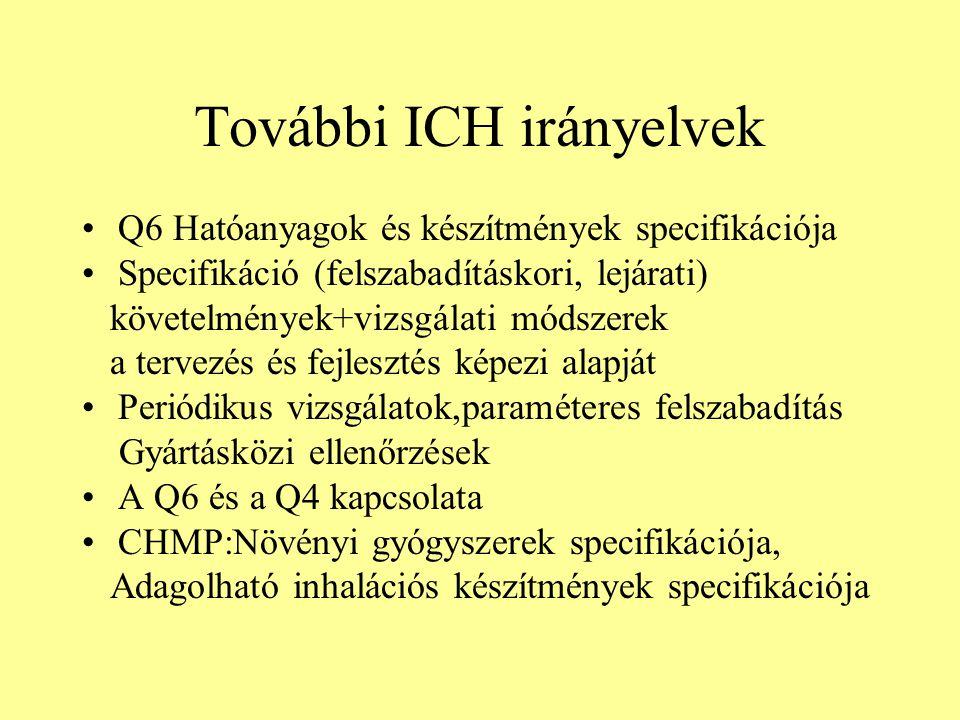 További ICH irányelvek Q6 Hatóanyagok és készítmények specifikációja Specifikáció (felszabadításkori, lejárati) követelmények+vizsgálati módszerek a t