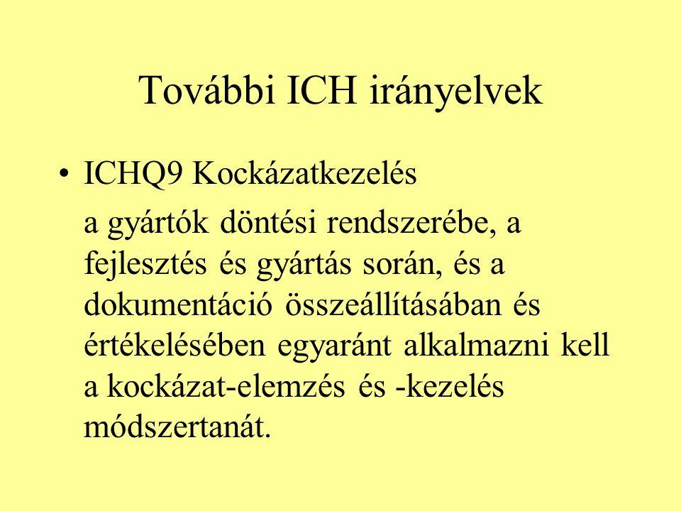 További ICH irányelvek ICHQ9 Kockázatkezelés a gyártók döntési rendszerébe, a fejlesztés és gyártás során, és a dokumentáció összeállításában és érték