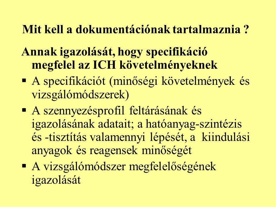 Mit kell a dokumentációnak tartalmaznia ? Annak igazolását, hogy specifikáció megfelel az ICH követelményeknek  A specifikációt (minőségi követelmény
