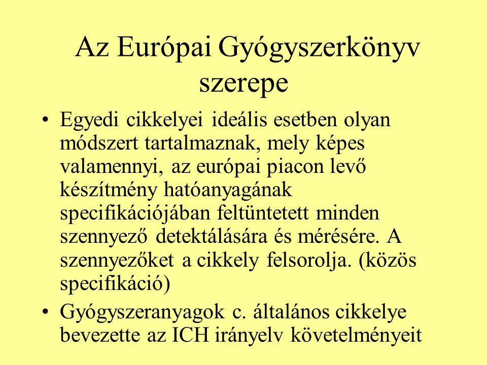 Az Európai Gyógyszerkönyv szerepe Egyedi cikkelyei ideális esetben olyan módszert tartalmaznak, mely képes valamennyi, az európai piacon levő készítmé