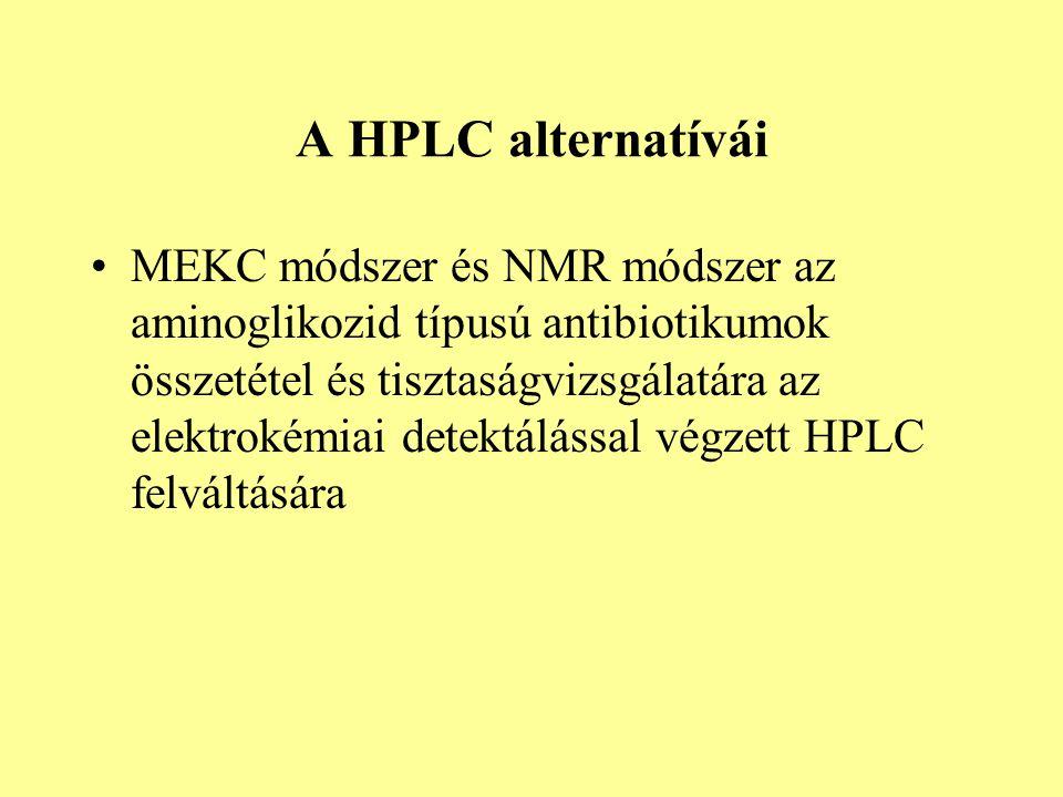 A HPLC alternatívái MEKC módszer és NMR módszer az aminoglikozid típusú antibiotikumok összetétel és tisztaságvizsgálatára az elektrokémiai detektálással végzett HPLC felváltására