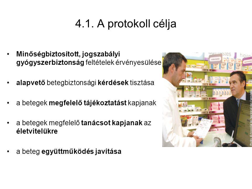 4.1. A protokoll célja Minőségbiztosított, jogszabályi gyógyszerbiztonság feltételek érvényesülése alapvető betegbiztonsági kérdések tisztása a betege