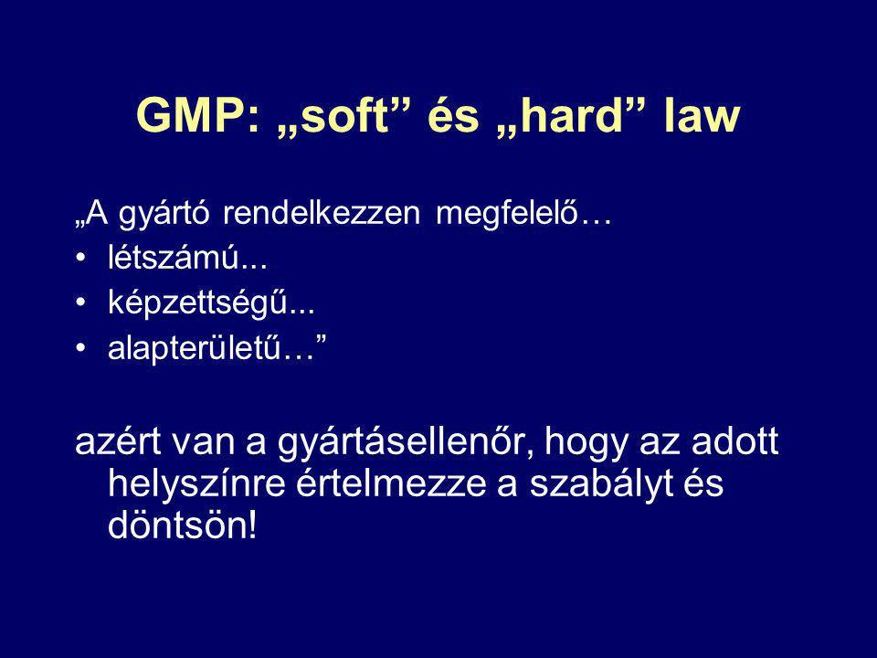"""GMP: """"soft és """"hard law """"A gyártó rendelkezzen megfelelő… létszámú..."""