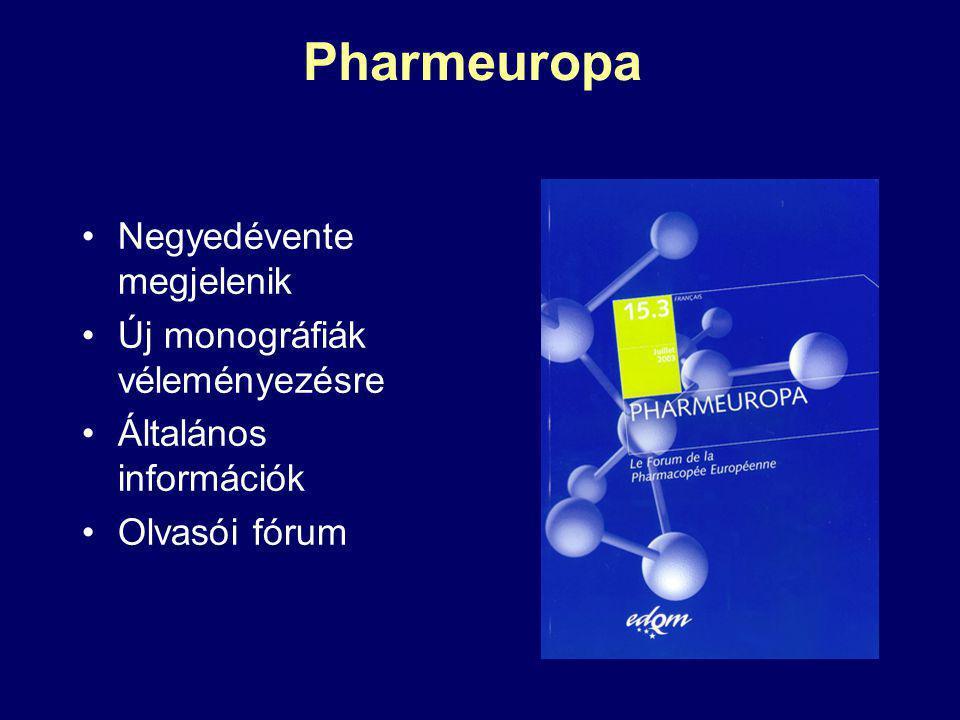 Pharmeuropa Negyedévente megjelenik Új monográfiák véleményezésre Általános információk Olvasói fórum