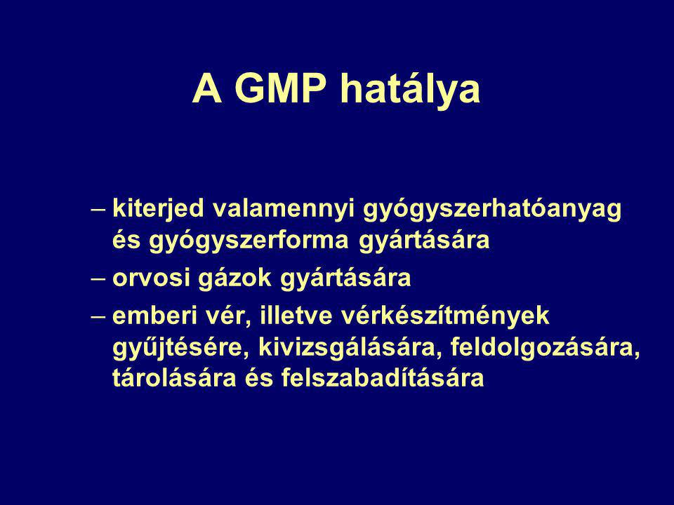A GMP hatálya –kiterjed valamennyi gyógyszerhatóanyag és gyógyszerforma gyártására –orvosi gázok gyártására –emberi vér, illetve vérkészítmények gyűjtésére, kivizsgálására, feldolgozására, tárolására és felszabadítására