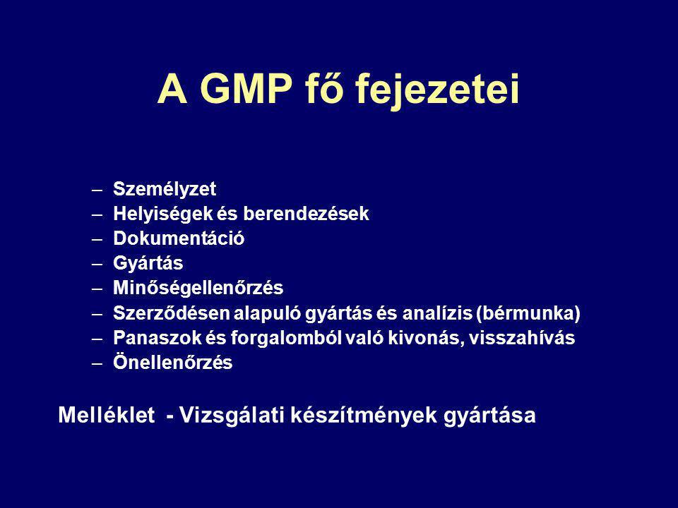 A GMP fő fejezetei –Személyzet –Helyiségek és berendezések –Dokumentáció –Gyártás –Minőségellenőrzés –Szerződésen alapuló gyártás és analízis (bérmunka) –Panaszok és forgalomból való kivonás, visszahívás –Önellenőrzés Melléklet - Vizsgálati készítmények gyártása